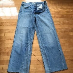 Levi's Altered wide leg button fly raw hem jeans